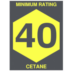 Minimum Rating 40 Cetane Decal 2.5 inch width x 3.25 inch height