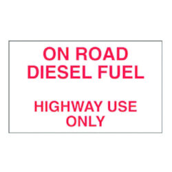 On Road Diesel Decal 10 inch width x 6 inch height