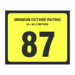 87 Minimum Octane Rating Decal 3 inch width x 2.5 inch height
