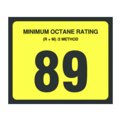 89 Octane Decal 3 inch width x 2.5 inch height