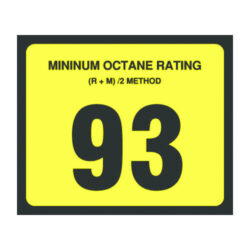 93 Octane Decal 3 inch width x 2.5 inch height